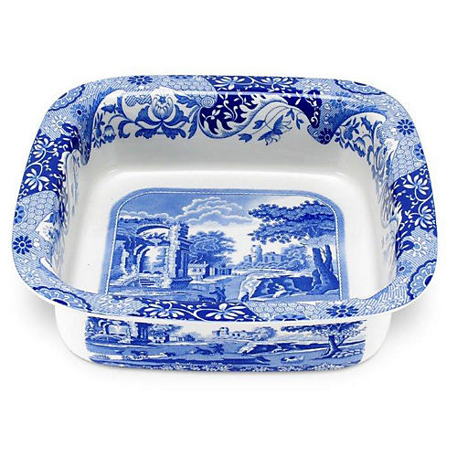 Italian Square Dish, Blue/White