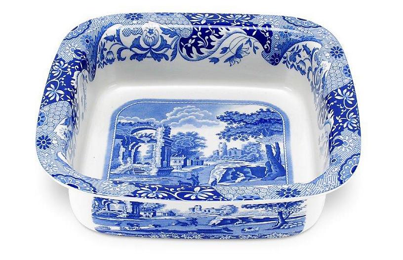 Italian Square Dish, Blue/White