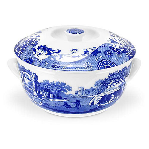 Italian Round Covered Dish, Blue/White
