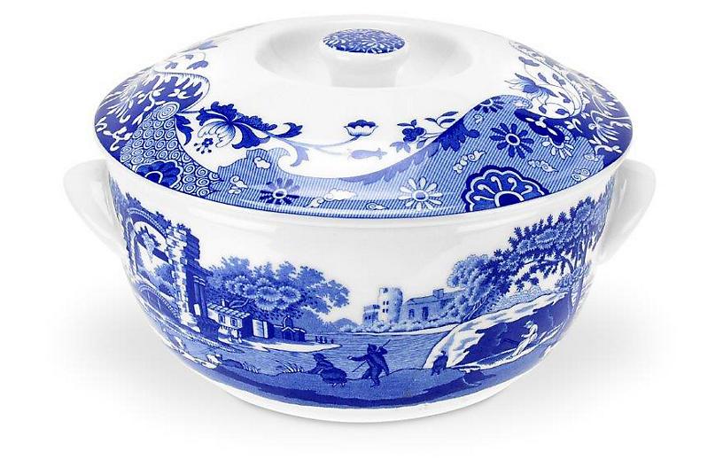 Italian Round Covered Dish, Blue/White
