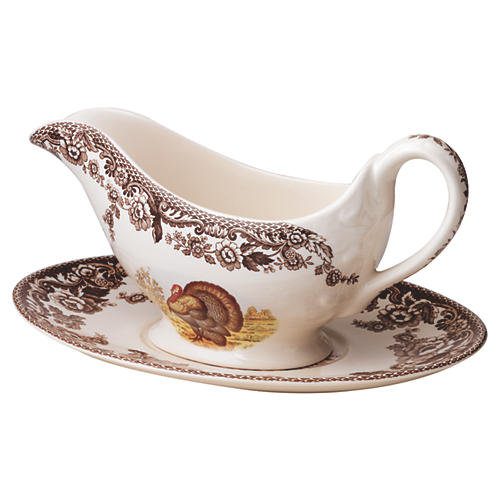 Woodland Turkey Sauce Boat & Stand