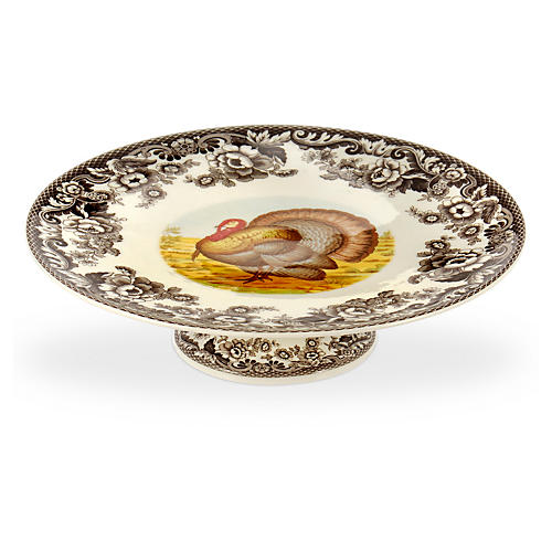 Woodland Turkey Footed Cake Plate