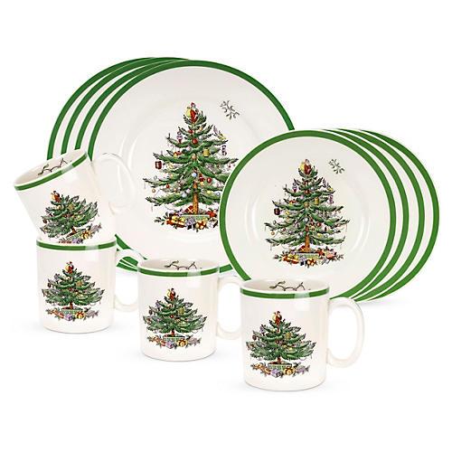 12-Pc Christmas Tree Dinnerware Set