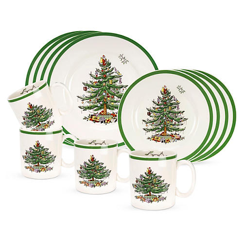 12-Pc Christmas Tree Dinnerware Set