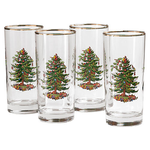 S/4 Christmas Tree Highballs