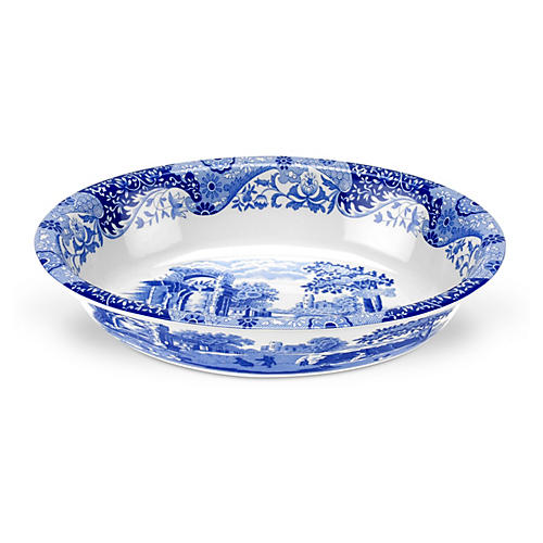 Blue Italian Oval Rim Baker