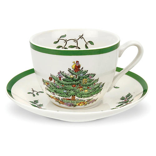 Christmas Tree Cup & Saucer Set