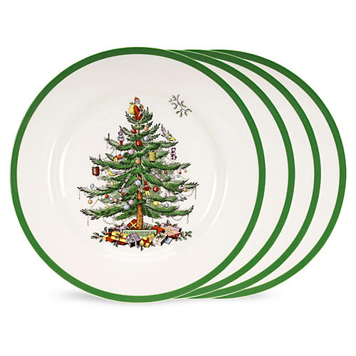 S/4 Christmas Tree Dinner Plates w/ Box