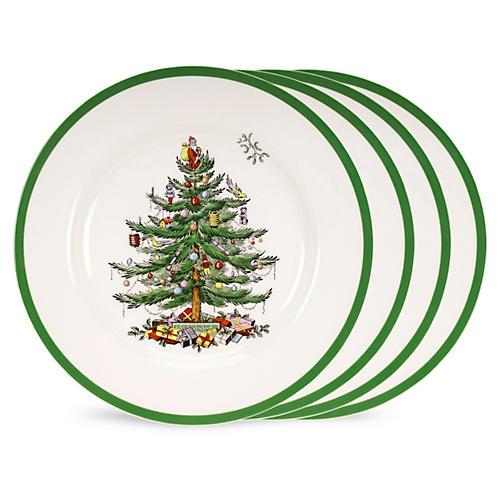 S/4 Christmas Tree Dinner Plates w/ Box