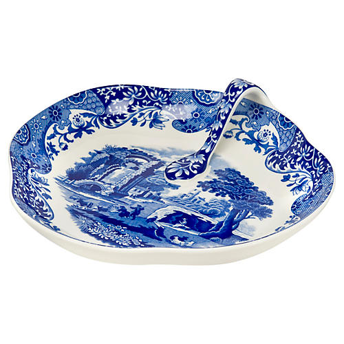 Blue Italian Handled Tray