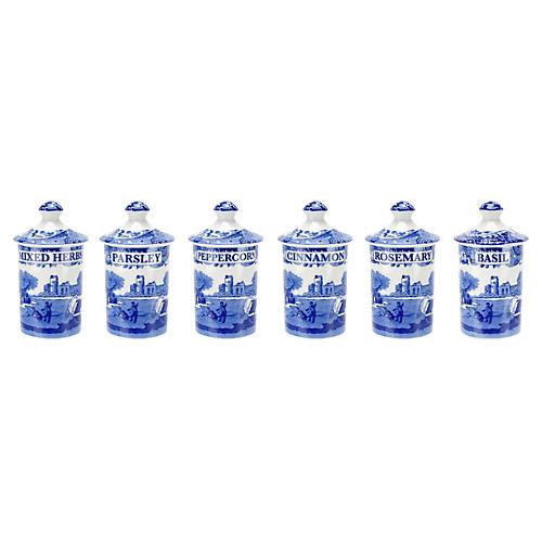Blue Italian Spice Jars, Set of 6