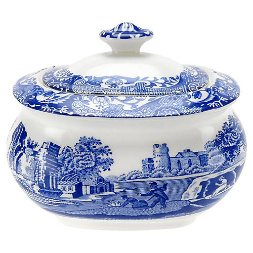 Blue Italian Covered Sugar Bowl