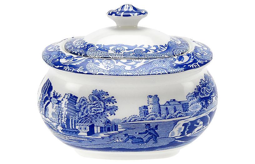 Blue Italian Covered Sugar Bowl