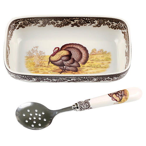 Turkey Cranberry Dish w/ Spoon
