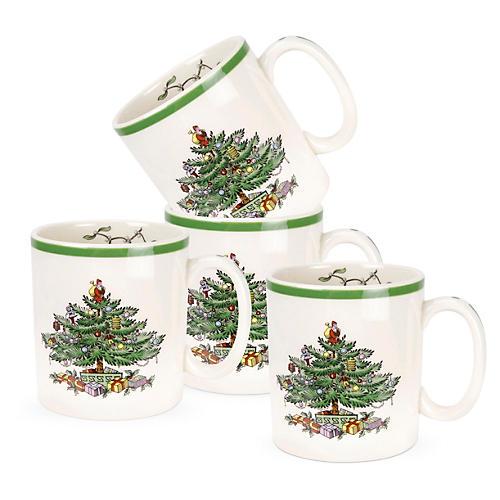 S/4 Spode Christmas Mugs