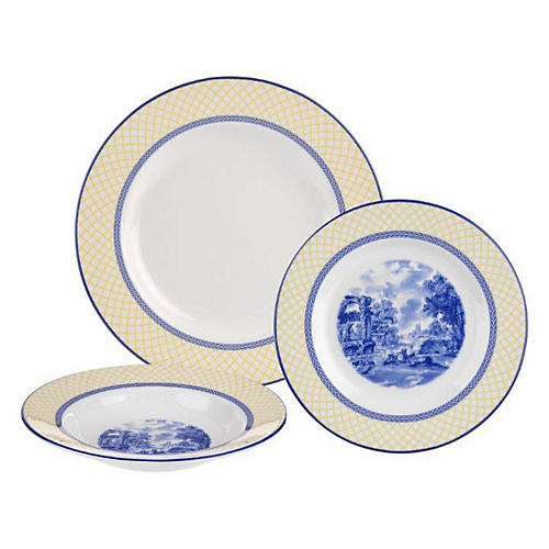 3-Pc Giallo Dinnerware Set, Blue
