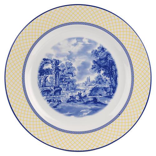 Giallo Round Platter, Blue/White