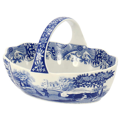 Italian Handled Basket, Blue/White