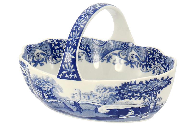 Italian Handled Basket, Blue/White