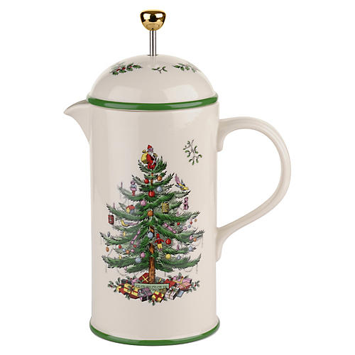 Spode Christmas Tree French Press, Green