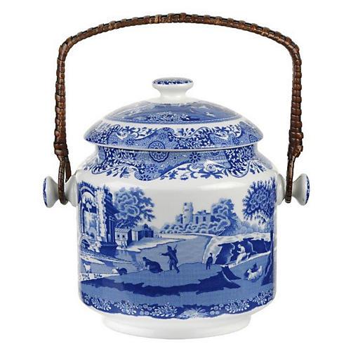 Italian Biscuit Barrel, Blue/White