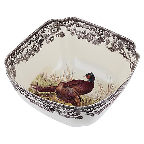 "9.5"" Woodland Pheasant Deep Bowl"