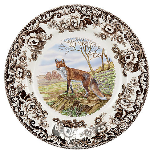 "10.5"" Woodland Red Fox Dinner Plate"