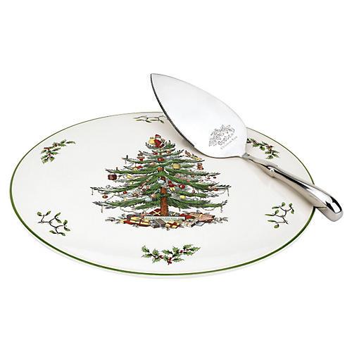 Cake Plate w/Server, Christmas Tree