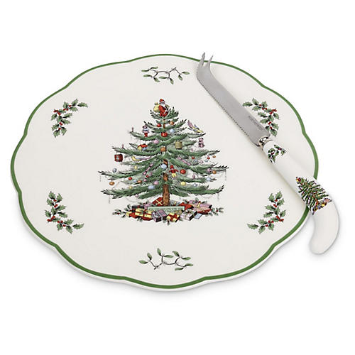 Appetizer Plate w/Knife, Christmas Tree
