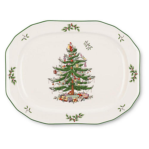 Oval Sculpted Platter, Christmas Tree