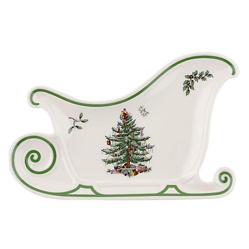 "13.5"" Sleigh Platter, Christmas Tree"