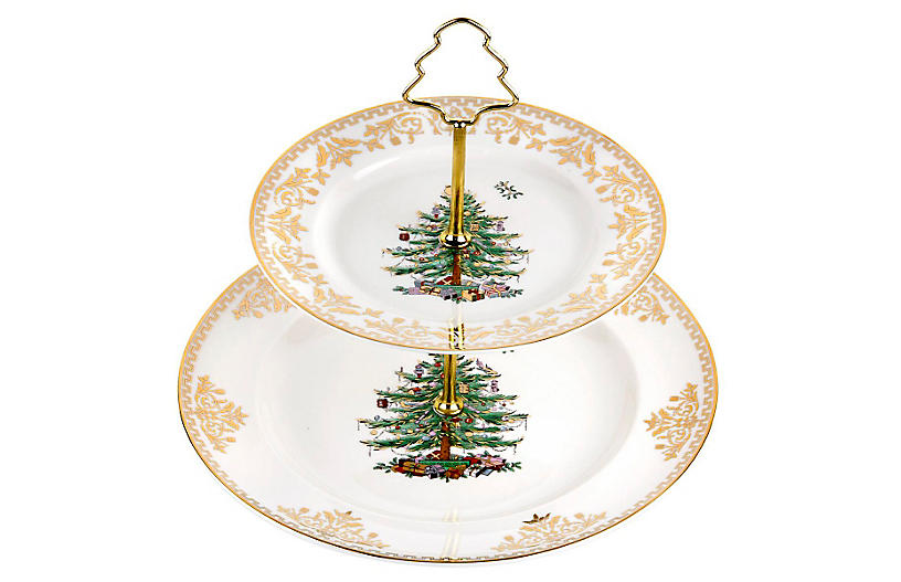 Gold Collection 2-Tier Cake Stand - Spode
