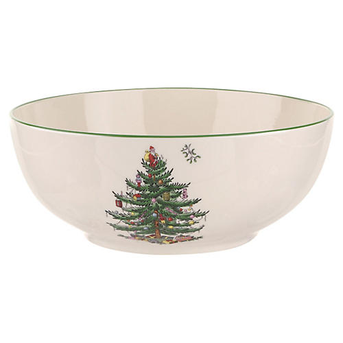 "8"" Round Bowl, Christmas Tree"