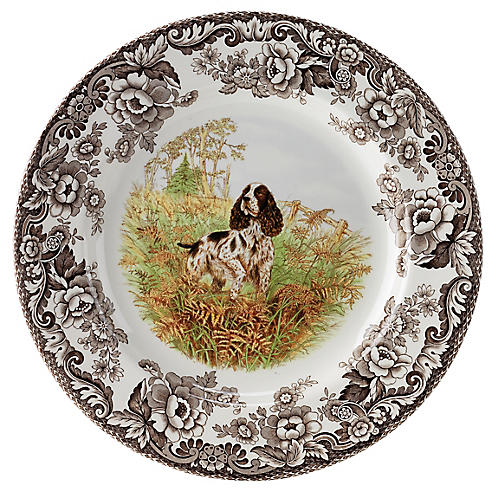 Woodland Spaniel Dinner Plate, White/Multi