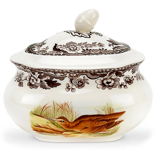 Woodland Snipe/Pintail Sugar Jar, White/Multi