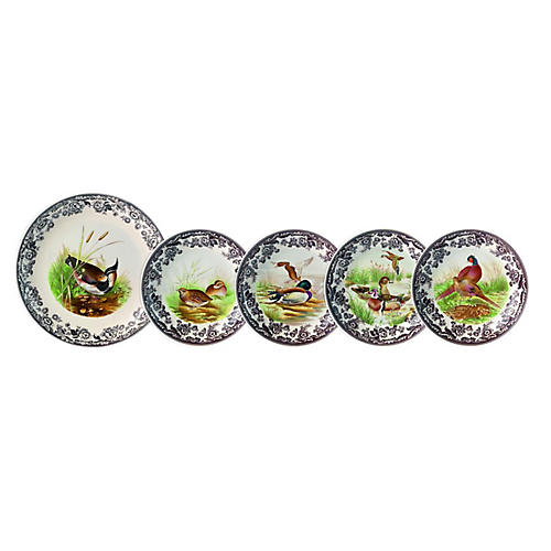 Asst. of 5 Woodland Bowls, White/Multi