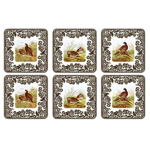 S/6 Woodland Coasters, White/Multi