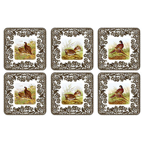 S/6 Woodland Coasters, White/Multi