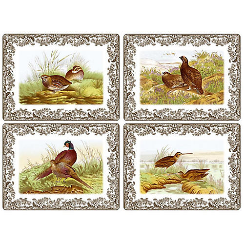 S/4 Woodland Place Mats, White/Multi