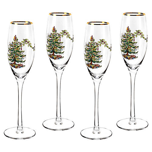 S/4 Christmas Tree Champagne Flutes, Clear/Multi