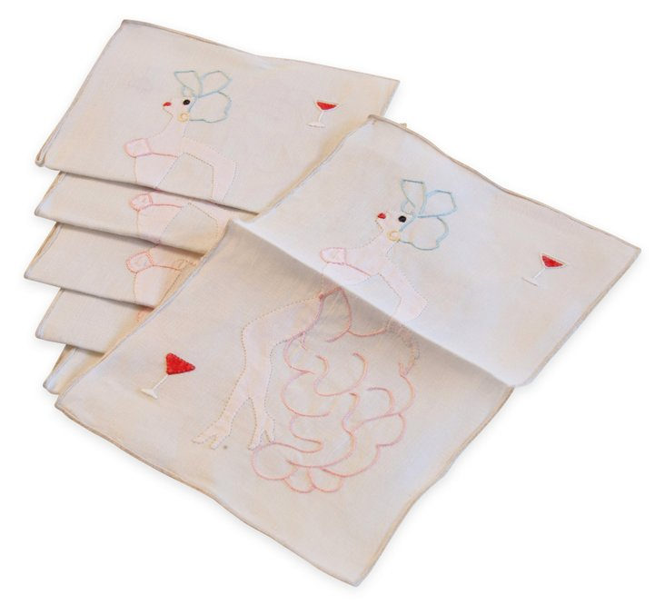 Vintage Cocktail Napkins, Set of 6