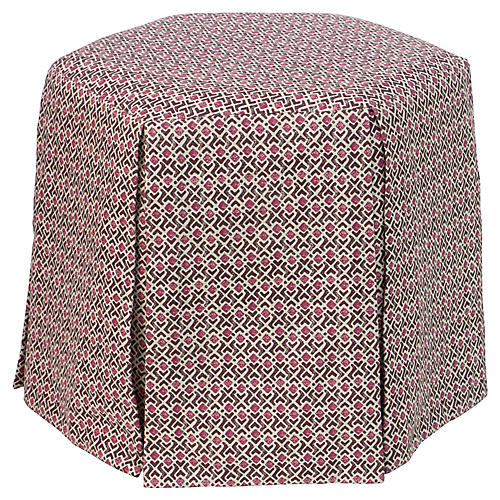 Savannah Skirted Ottoman, Pink Bundi