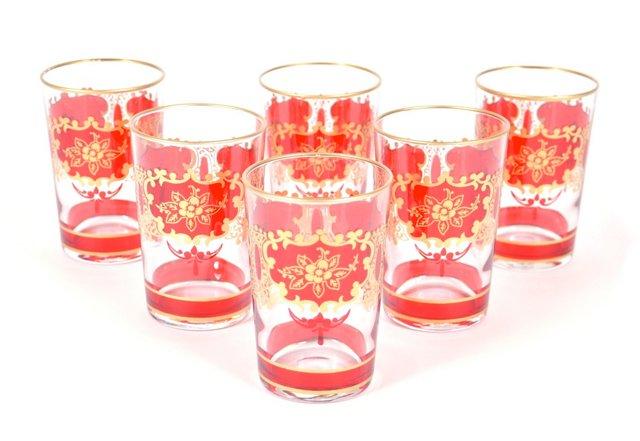 S/6 Challa Moroccan Glasses, Yellow