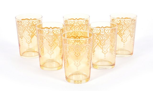 S/6 Challa Moroccan Glasses, Green