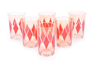 S/6 Lozagne Moroccan Glasses, Orange