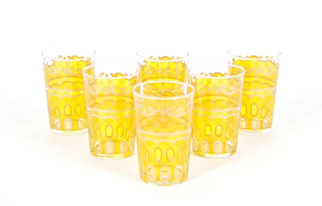 S/6 Etoile Moroccan Glasses, Pink