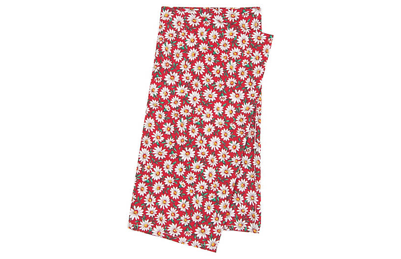 S/4 Cotton Daisy Napkins, Red
