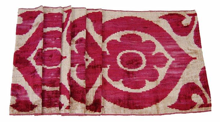 Silk Velvet Red Flower Table Runner