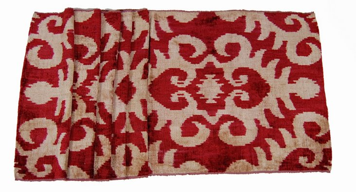 Red Shield Velvet Silk Ikat Runner