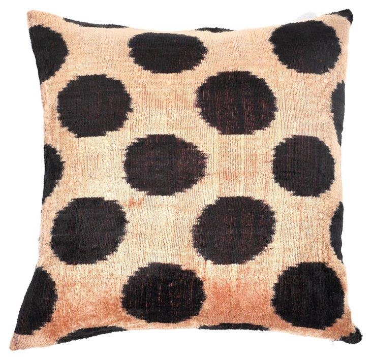 Hamza 15x15 Silk Velvet Pillow, Black